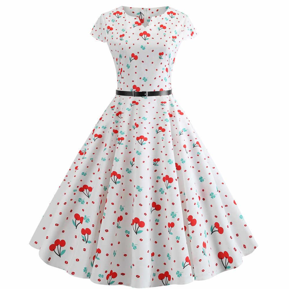 Women Floral Print Vintage Dress Short Sleeve Elegant V neck Party Dress Summer Robe Female Casual A-Line Dress Tunic Plus Size
