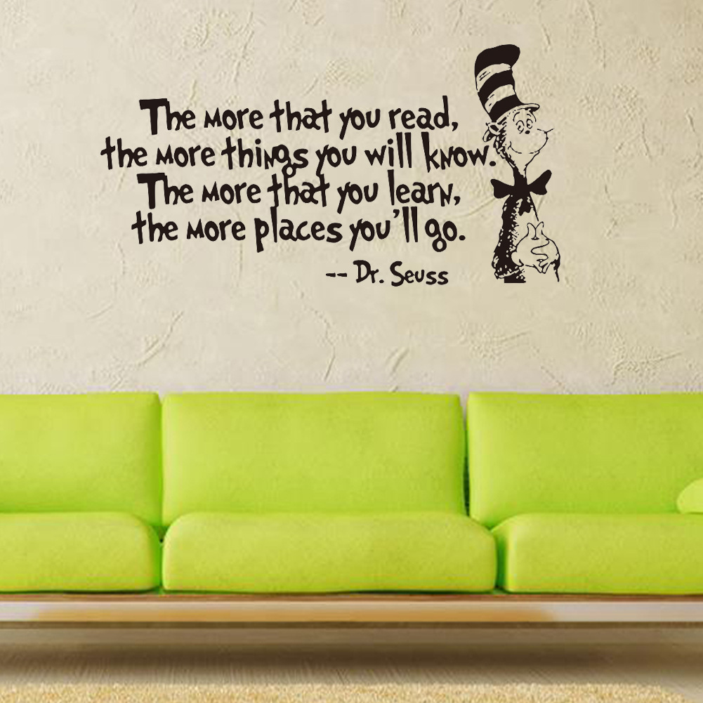 The More That You Read Quotes Dr Seuss Wall Mural Vinyl Quotes Saying Wall  Sticker Home