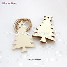 "(50pcs/lot) 70mm Blank Unfinished Wooden Christmas Tree Tags With Strings 2.8""-CT1303"