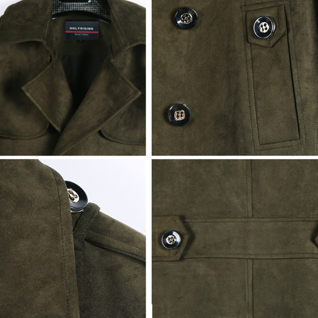 Holyrising Men fake suede jacket men trench jacket winter slim fit classic long coat England double-breasted S-6XL #18082