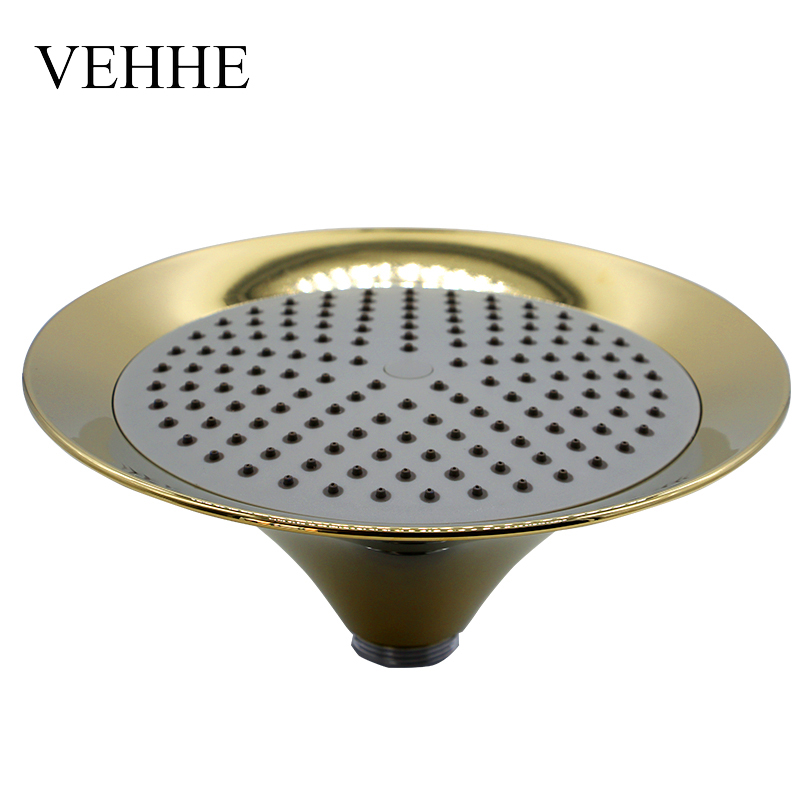 VEHHE 8 Inch Copper Plating ABS Rainfall Brass Shower Head Gold Shower Big Rain Shower Bathroom Fixture Top Ceiling Shower Head vehhe 20cm round bathroom fixture big rain shower chorme grey silica gel holes top wall mounted shower ceiling rain shower head