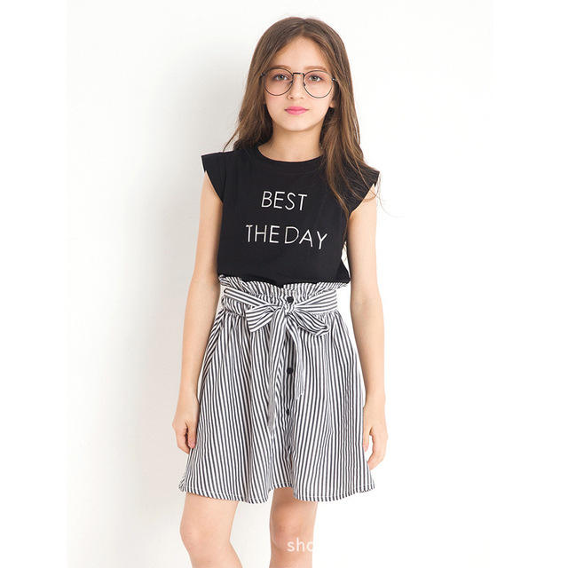 7e937ff9ca Black White Stripe Girl Clothing Summer Girl Set Two-piece Toddler Girl  Clothing Tops Skirts Size 6 7 8 9 10 11 12 14 years