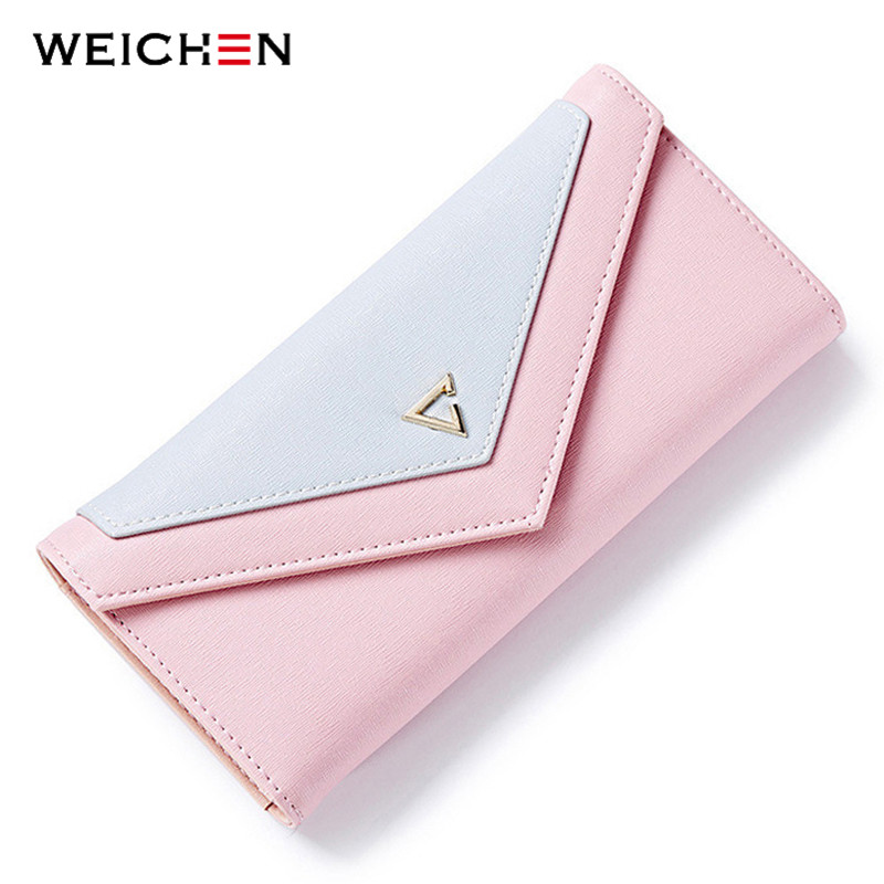 WEICHEN HOT Geometric Envelope Wallet Kvinnor Märke Designer Kvinna Wallet Card Hållare Telefon Mynt Pocket Ladies Purse High Quality