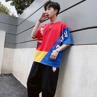 Patchwork Tshirt and Shorts Cotton Tracksuit Men Streetwear Casual Boyfriend Korean Harajuku Men TShirts Fashion Tracksuit M5S73