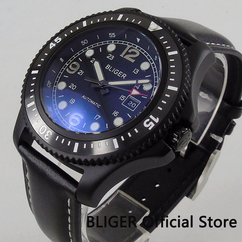 Casual BLIGER 44mm Black Dial Black Ceramic Bezel Luminous Marks Solid PVD Coated Case Miyota Automatic Movement Mens Watch B59Casual BLIGER 44mm Black Dial Black Ceramic Bezel Luminous Marks Solid PVD Coated Case Miyota Automatic Movement Mens Watch B59