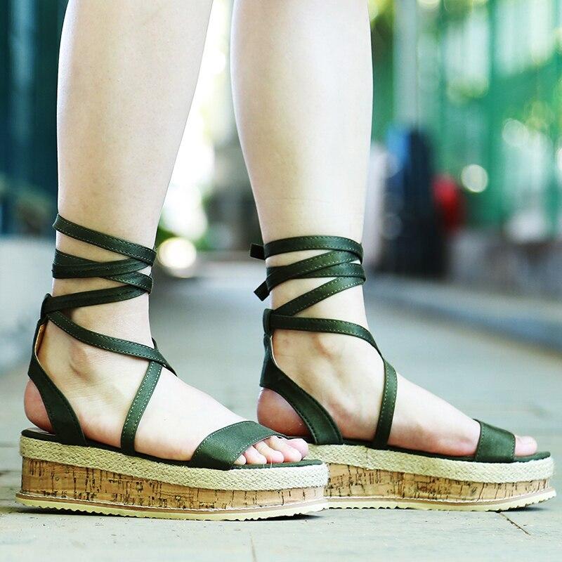 HTB12kNhXOLrK1Rjy1zdq6ynnpXa6 Summer White Wedge Espadrilles Women Sandals Open Toe Gladiator Sandals Women Casual Lace Up Women Platform Sandals