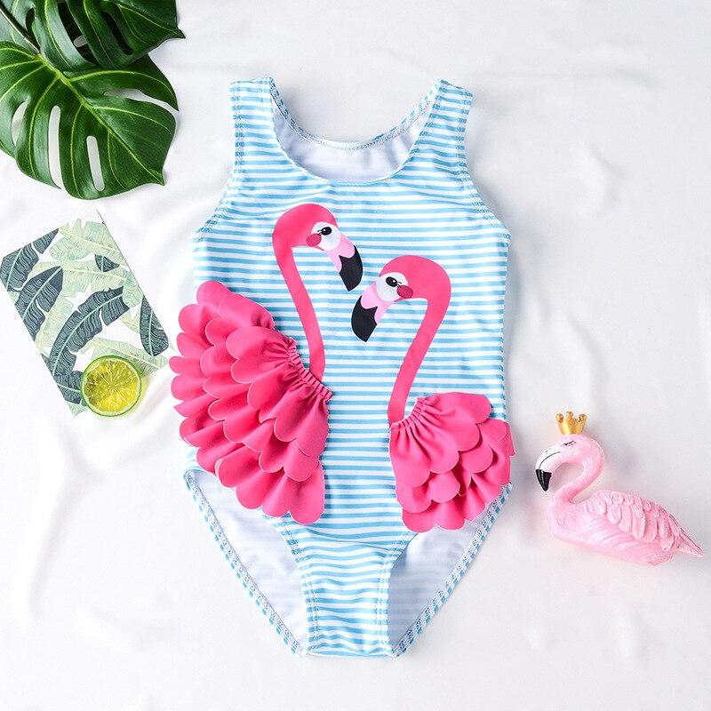 Swimwear Symbol Of The Brand Children Girls Flamingo Swimwear Kids Striped Ins Fashion One Piece Bathing Suit Boutique Girls Beach Wear
