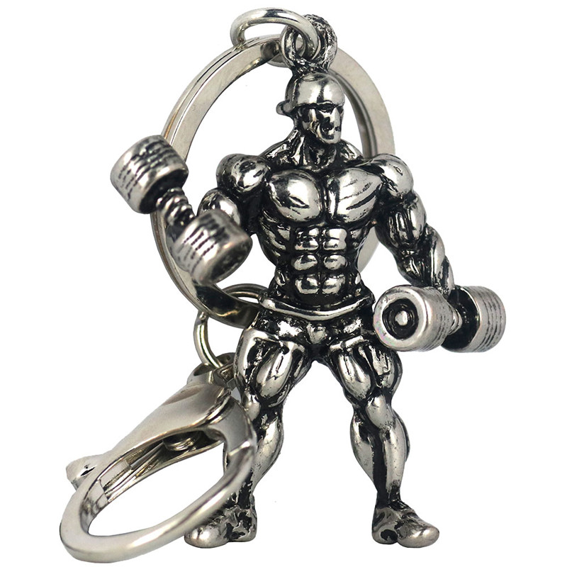 Fitness Charm Keychain Vintage Silver Muscle Man Sports Hold Barbell Stainless Steel Car Key Gym Wallet Jewelry Graduation Gift