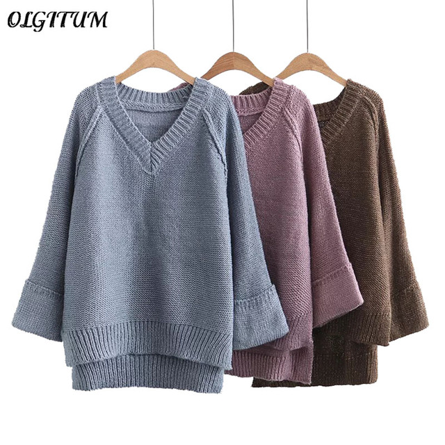 59ef7ec18 New Fashion Sweet simple solid color sweater pullover V neck hem open Loose  knitting long sleeve