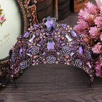 Luxury Purple Crown Crystal Wedding Head Tiaras Bridal Hair Accessories Vintage Crowns Beauty Bridal Vine Crown Women Headpiece