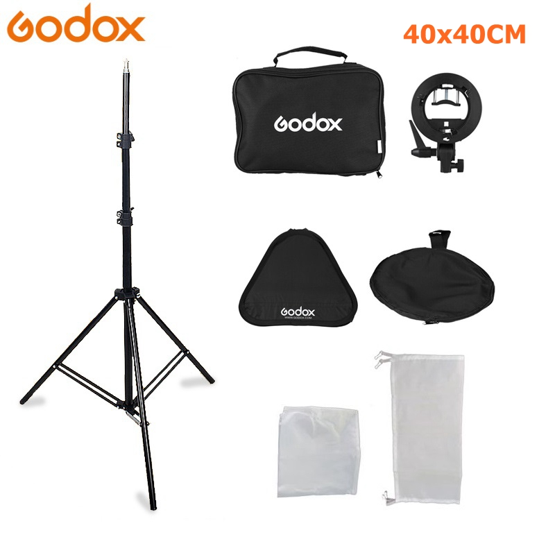 Godox 40 x 40cm Flash Speedlite Softbox + S type Bracket Bowens Mount Kit with 2m Light Stand for Camera Photography image