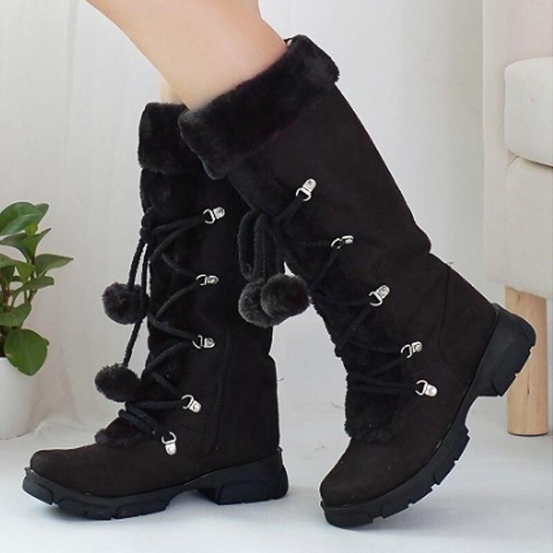 Zapatos Botines Grande 2019 brown Mujeres La Nieve 5 5 4 De Botas Tamaño rose Black Cruz Invierno Cuñas atado 10 Mujer beige xaOCgqA