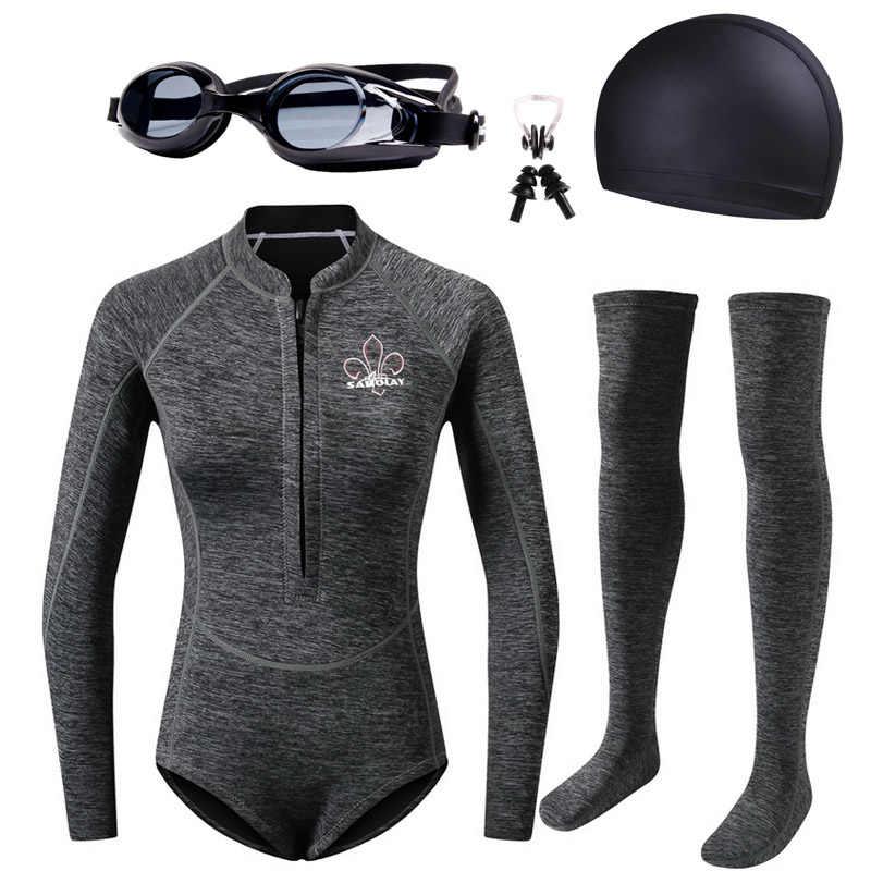 Bayanlar döküntü muhafızları 2mm neopren Wetsuit kadınlar mayo tüplü dalış ekipmanları yüzme sörf Spearfishing takım elbise dalış çorapları
