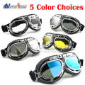 Universal Silver Frame Goggles Motorcycle Glasses Motocross Helmet Goggle Offroad Eyewear Outdoor 5 Color Free Shipping D10