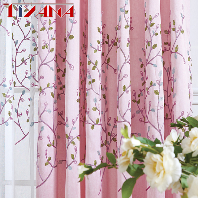 Korean Embroidered Leaves Pink Blackout Curtains For Living Room Blue Linen Fabric White Sheer Tulle D