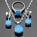Round Australia Fire Blue Opal Silver Color Jewelry Sets For Women Wedding Necklace Pendant Drop Earrings Rings Gift Box