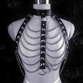 Sexy cadena de metal de malla arnés del collar de las mujeres gargantilla cuerpo liado bikini cadena de la cintura de cuero punky gótico de halloween del Partido de la joyería