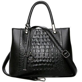 Women Bag Bags Alligator Split Leather Women Handbags Luxury Designer 2018  Solid Color Messenger Bags Women