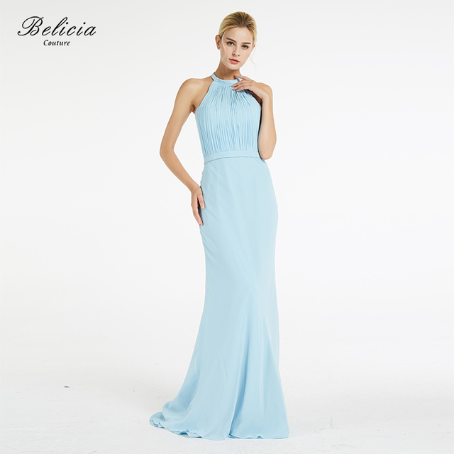 bbd85ef8eaec5 US $159.0 |Belicia Couture Women Evening Dress Baby Blue Elegant Sleeveless  Halter Chiffon Floor Length Long Formal Evening Gowns-in Evening Dresses ...
