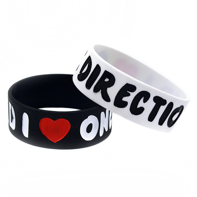 50PCS/Lot I Love 1D One Direction Ink-filled Colour Wristband Silicone Bracelet for Fans