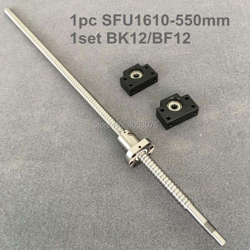 BallScrew SFU1610  RM1610 550mm Rolled Ball screw 1pc+1pc ballnut SFU1610 + end machining + BK/BF12BallScrew SFU1610  RM1610 550mm Rolled Ball screw 1pc+1pc ballnut SFU1610 + end machining + BK/BF12