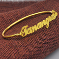 Wholesale Gold Plated Carrie Name Bangle Custom Nameplate Bangle Wire Band Personalized 925 solid silver Jewelry