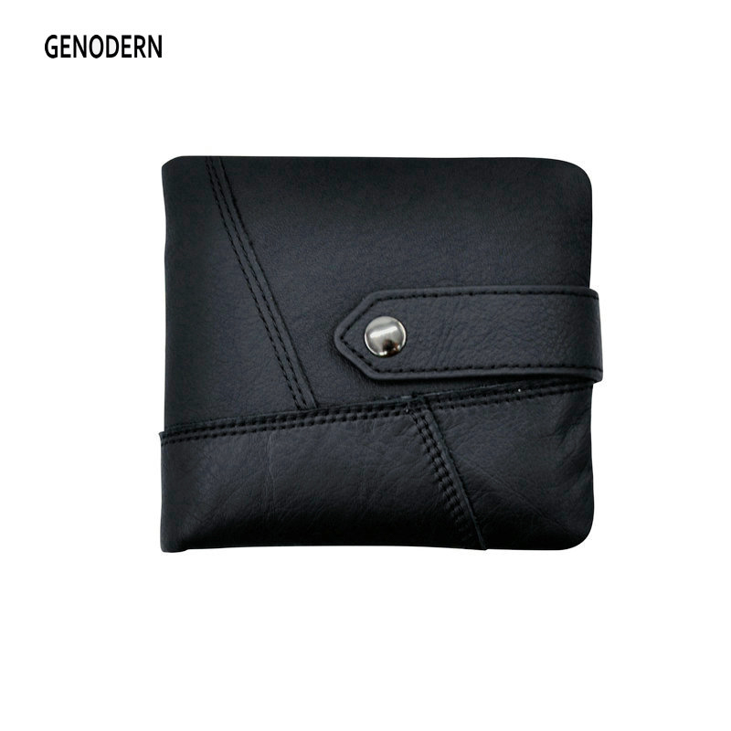 GENODERN Men Genuine Leather Wallet with Coin Pocket Short Horizontal Wallet for Man Cowhide Male Purse Buckle European Wallets genodern 100