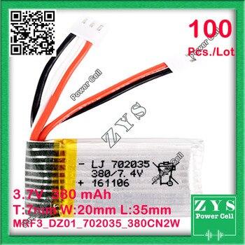 Safety Packing (Level4) 100pcs 3.7V lithium Polymer battery 702035 072035 380mah for UAV UAS Drone Zone mini drone fpv 7x20x35mm