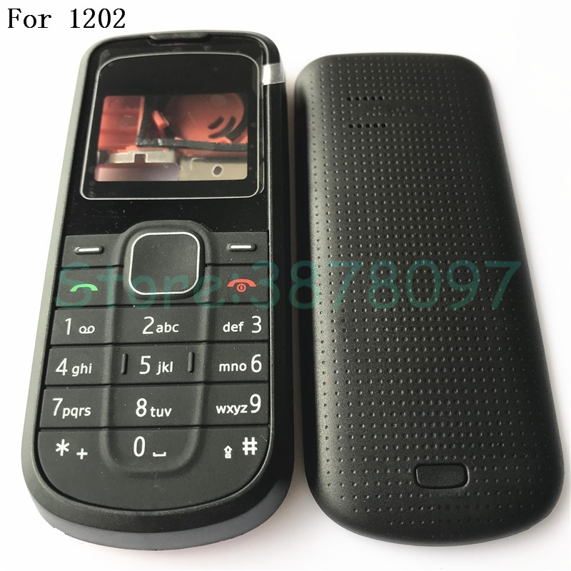Original For Nokia 1202 New Full Housing Case Cover Front Frame With KeyBoard Display Glass+Middle Frame+Back Cover With Logo