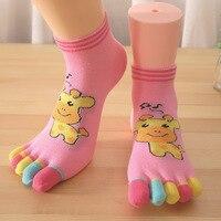 5pcs Lot Mixcolor Women Kawaii Socks Cotton Five Toe Thick Socks Pilates Socks Chaussette Femme Meias
