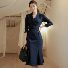 2018 Winter Notched Belt Full Sleeve Office Cloth Women Bodycon Solid Fishtail Knee-Length OL Work Dress