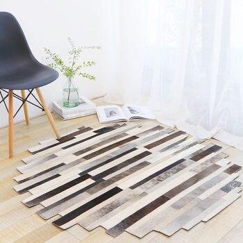 Ручная работа Лоскутная полоса воловья кожа круглый ковер кабинет журнальный столик для гостиной коврик для спальни круглый коврик