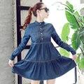 2016 Nueva Llegada del Resorte y otoño ropa de moda más mujeres del tamaño vestido de dril de algodón delgado elegante vestido de vaquero ocasional XL Vaqueros