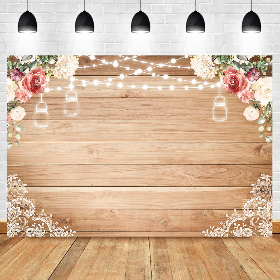 Rustic Wood Baby Shower Backdrop Vinyl Flowers String Light