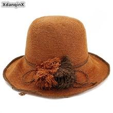 XdanqinX Womens Straw Hat Korean Japanese Style Special Fine Grass Weaving Handmade Bucket Hats NEW Foldable Elegant Beach