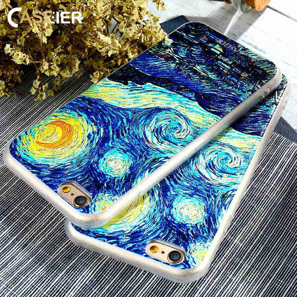Van Gogh Oil Painting Case For iPhone 6 6s 7 Plus Blossom Art Painting Clear Soft Cover For Samsung Galaxy S6 S7 Edge Shells