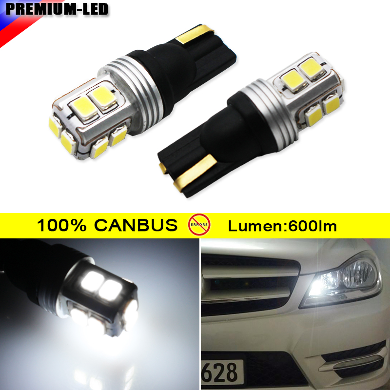 (2)10-SMD 2825 W5W T10 Canbus Error Free LED Replacement Bulbs For Audi BMW Mercedes Parking Lights, License Plate Lights, white 4pcs super bright t10 w5w 194 168 2825 6 smd 3030 white led canbus error free bulbs for car license plate lights white 12v