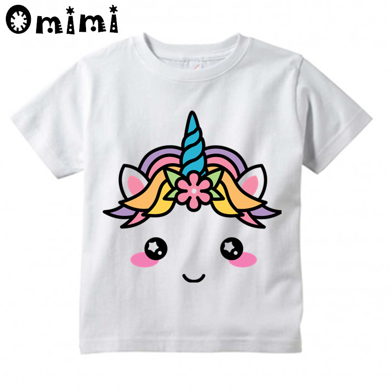 399438594 Kids Kawaii Unicorn Face Cartoon Design T Shirts Children's Cute Short  Sleeve Tops Boys/Girls Funny T Shirt Cool Clothes,HKP3029-in T-Shirts from  Mother ...