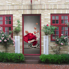 3d Effect Festival Door Stickers Christmas Santa Snow Xmas Tree Waterproof Door Poster Store Home Decoration 200*77cm Stickers sparkling christmas tree pattern door art stickers