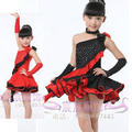 New Arrival Professional High Quality Rhinestone Crystals Unequal Ballroom Salsa Costume  Latin Dance Dress For Girls