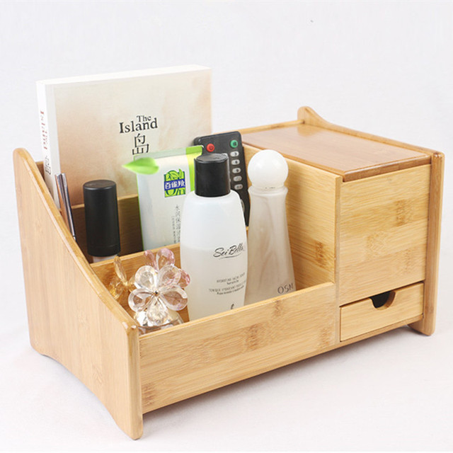 Bamboo Multiple Functional Storage Box Eco Friendly Office Table Organizer Remote Controller Holder