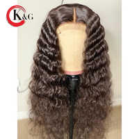 KUNGANG Curly Human Hair Wigs With Baby Hair Bleached Knots 13*6 Inches Brazilian Remy Hair Wig Pre-Plucked 130% Density