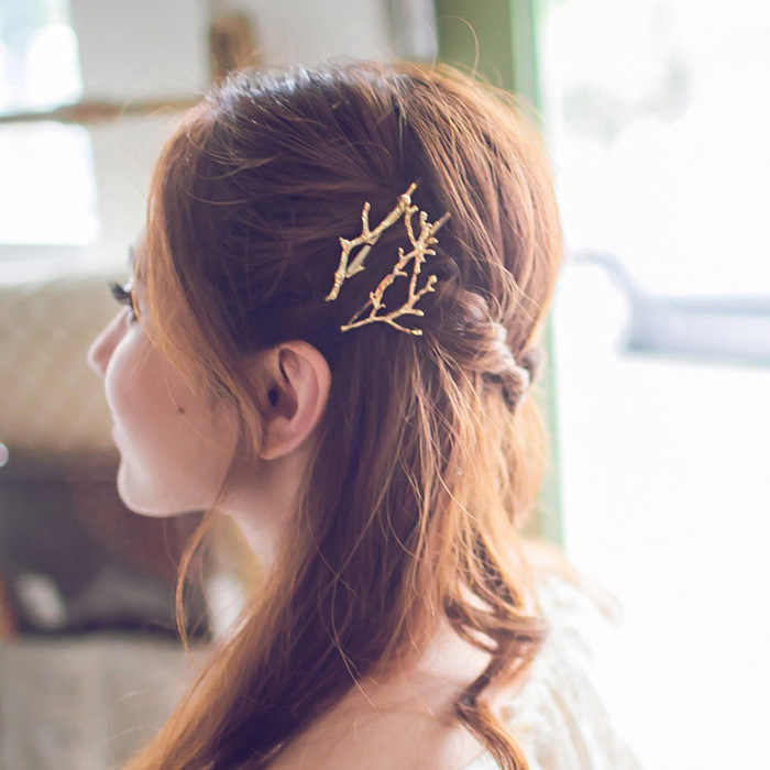 Korea Hair Accessories Fairy Antlers Branch Metal Clip Side Clip Hairpin Fashion Personality Princess Hairpin Wholesale Crown