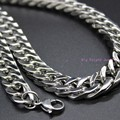 "High Polishing 12mm Silver Tone Cuban Curb Link Chain 316L Stainless Steel For Biker Mens Necklace/Bracelet Jewelry 7-40"" Choose"