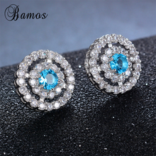 Bamos Women Light Blue Round Stud Earring With AAA Zircon 92