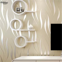 beibehang Modern minimalist living room TV backdrop wallpaper bedroom non woven super thick 3D relief seaweed leaf