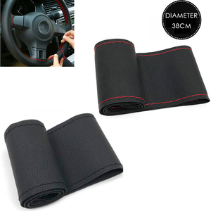 Image 1 - 37cm/38CM DIY Steering Wheel Covers soft Leather braid on the steering wheel of Car With Needle and Thread Interior accessories