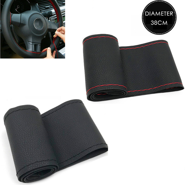 37cm/38CM DIY Steering Wheel Covers soft Leather braid on the steering wheel of Car With Needle and Thread Interior accessories