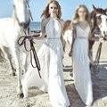 Nueva llegada de la alta calidad de las mujeres parte larga georgette lace dress fashion blanco fuera del hombro sexy vestido swing grande maxi vestidos