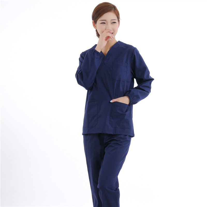 New Women Medical Scrub Sets Nurse Hospital Uniforms Dental Clinic Beauty Salon Long Sleeve Medical Workwear Slim Fit  2135
